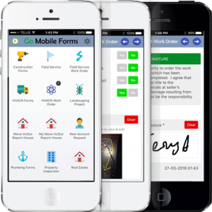 Mobile devices with screen from workflow application applications.